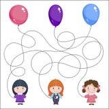 раздувает девушки 3 Изображение ` s детей с загадкой Где чей шарик? Стоковые Фото