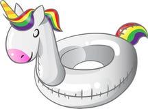 Раздувное кольцо заплыва единорога на белой предпосылке Стоковая Фотография