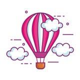 Раздуйте летание воздуха горячее в небе иллюстрация вектора