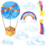 Раздуйте собрание акварели шаржа изолированное на белой предпосылке, нарисованном комплекте руки воздушного шара покрашенный для  иллюстрация вектора