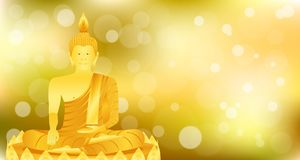 Раздумье Будды phra монаха сидя на основании лотоса золота для молит отпуск составленный концентрацией r иллюстрация штока