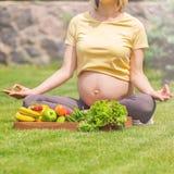 Раздумье и релаксация беременной женщины практикуя в природе Стоковые Изображения RF