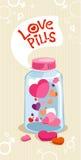 разлейте пилюльки по бутылкам влюбленности Стоковое Фото