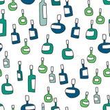 Разливает безшовную картину по бутылкам иллюстрация вектора