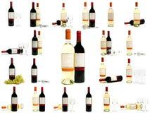 разливает вино по бутылкам красного цвета установленное белое Стоковые Фотографии RF