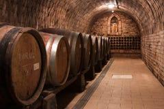 разливает вино по бутылкам погреба Стоковое фото RF