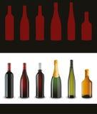 разливает вино по бутылкам франчуза установленное Стоковая Фотография