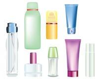 разливает косметические продукты по бутылкам иллюстрация штока