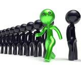 Различная индивидуальность людей характера человека, стоит вне от толпы иллюстрация штока