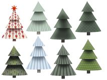 различная рождественская елка 8 при картина изолированная на белизне стоковое изображение