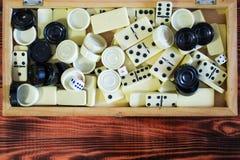 Различная шахматная доска настольных игр, играя карточки, домино Стоковая Фотография RF