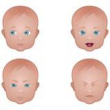 различное выражений младенца лицевое Стоковое Фото