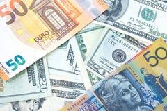 Различные банкноты от различных стран в мире как доллар США Стоковые Изображения