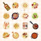Различные блюда еды иллюстрация штока