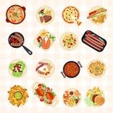 Различные блюда еды иллюстрация вектора