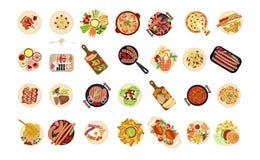 Различные блюда еды бесплатная иллюстрация