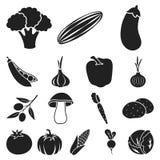 Различные виды значков овощей черных в собрании комплекта для дизайна Сеть запаса символа вектора овощей и витаминов Стоковое Изображение