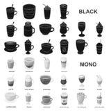 Различные виды кофе чернят значки в собрании комплекта для дизайна Иллюстрация сети запаса символа вектора питья кофе бесплатная иллюстрация