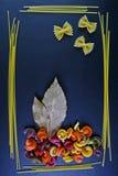 Различные виды покрашенных сырцовых итальянских макаронных изделий, листьев лавра, взгляд сверху, в форме полей цветка и бабочек  Стоковое фото RF