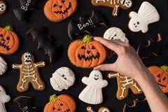 Различные декоративные печенья хеллоуина Стоковая Фотография RF