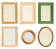 Различные деревянные рамки фото изолировали Стоковое Изображение