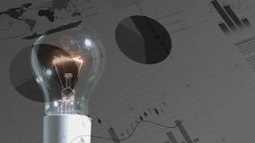 Различные диаграммы и электрическая лампочка акции видеоматериалы