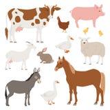 Различные животные и птицы вектора подсобного хозяйства как корова, овца, свинья, иллюстрация обрабатываемой земли утки установле Стоковые Фото