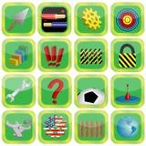 различные изображения 16 икон иллюстрация вектора