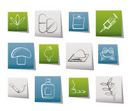 различные иконы снадобья добросердечные Стоковые Изображения
