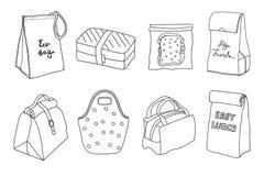 Различные коробки для завтрака и установленные сумки обеда Сумка Eco, коробка сандвича, легкий обед иллюстрация вектора