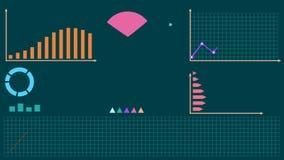 Различные красочные infographic элементы, диаграммы, предпосылка зеленого цвета визуализирования данных видеоматериал