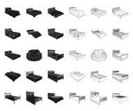 Различные кровати чернят, конспектируют значки в собрании комплекта для дизайна Мебель для запаса символа вектора спать равновели иллюстрация вектора