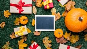 Различные листья осени и оранжевые тыквы приближают к классн классному Стоковые Фотографии RF