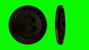 Различные монетки валюты вступают в противоречия на зеленом экране движение медленное иллюстрация штока