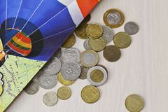 Различные монетки различных стран Стоковое фото RF
