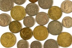 Различные монетки старой греческой драхмы Ассортимент монеток дальше Стоковые Фото