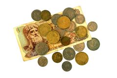 Различные монетки старой греческой драхмы Ассортимент монеток дальше Стоковые Фотографии RF