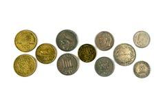 Различные монетки старой греческой драхмы Ассортимент монеток дальше Стоковое фото RF