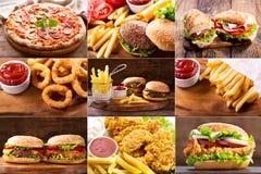 Различные пищевые продукты фаст-фуда стоковые изображения