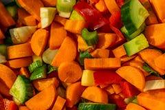 Различные разнообразия овощей отрезанных в небольшие части стоковое фото