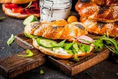 Различные сандвичи бейгл Стоковые Изображения RF