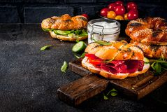 Различные сандвичи бейгл Стоковые Фото