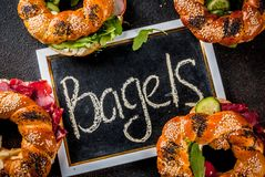Различные сандвичи бейгл Стоковое фото RF
