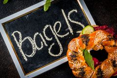 Различные сандвичи бейгл Стоковая Фотография RF