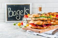 Различные сандвичи бейгл Стоковая Фотография
