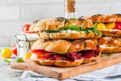 Различные сандвичи бейгл Стоковое Изображение RF