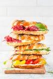 Различные сандвичи бейгл Стоковое Фото