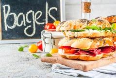 Различные сандвичи бейгл Стоковое Изображение