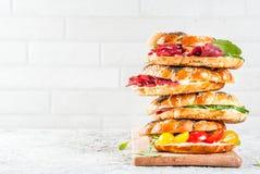 Различные сандвичи бейгл Стоковые Изображения