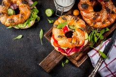 Различные сандвичи бейгл Стоковые Фотографии RF